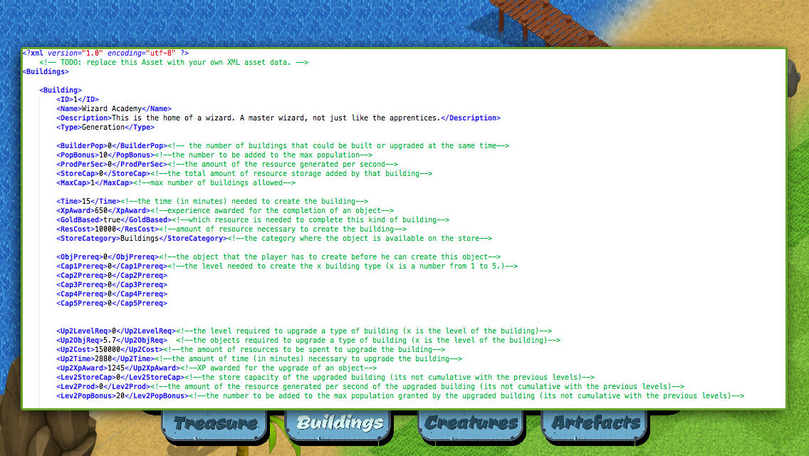 XML Editing to Customize Buildings